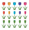 set colorful tulip icons vector image vector image