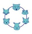 set cute heads wilds animals design vector image vector image