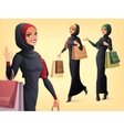 set of beautiful Muslim woman in different vector image vector image