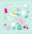 set of elements on the theme of summer vector image vector image