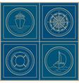 Set of marine emblem vector image