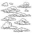 set sketch clouds vector image vector image