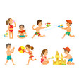 summer vacation kids playing together kids set vector image vector image