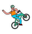 tricks on bicycle guy on bike repent of bmx vector image vector image