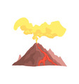 volcanic mountain with magma hot lava and dust vector image vector image