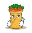 waiting kebab wrap character cartoon vector image vector image