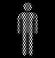 white halftone man user icon vector image vector image