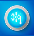 white thermometer with snowflake icon isolated vector image