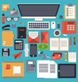 office desk stationery flat object vector image