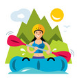 rafting girl flat style colorful cartoon vector image
