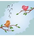 Two birds on a branch in vector image