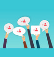 people holding speech bubbles with subscribers vector image