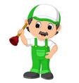 a plumber handyman cartoon character holding a plu vector image