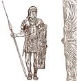 roman warrior hand draw vector image