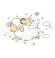 a sleeping girl and a sheep with wings good night vector image vector image