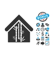 Bamboo House Flat Icon with Bonus vector image vector image