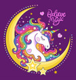 beautiful white unicorn with stars and moon