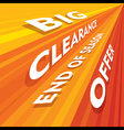 big clearance end of season offer banner or poster vector image vector image