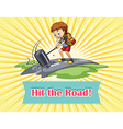 Boy hitting the road vector image vector image