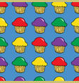 bright cream cupcake seamless pattern vector image vector image