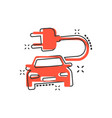 cartoon electro car icon in comic style electric vector image