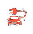 cartoon electro car icon in comic style electric vector image vector image