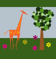 cartoon giraffe and tree green card poster concept vector image