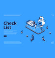 check list isometric landing page online checklist vector image vector image