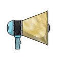 Colored pencil silhouette of megaphone icon vector image