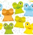 Cute Cartoon funny frog set yellow green blue vector image vector image
