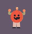 cute man wearing pumpkin scarecrow costume happy vector image