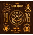 Deer Hunting - set for hunting emblem vector image vector image