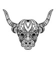 doodle art entangle bull full vector image vector image