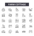 farm cottage line icons signs set vector image vector image
