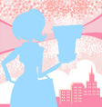 fashion girl Shoppingpink and blue abstract vector image vector image