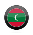 flag of maldives shiny black round button vector image vector image