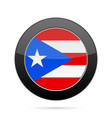 flag of puerto rico shiny black round button vector image