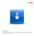 flower pot icon - 3d blue button vector image