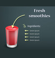 fresh red smoothie concept background realistic vector image vector image