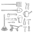 Gardening and agricultural tools icons vector image