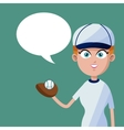 girl baseball player bubble speech vector image