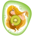 Girl with long hair holds an kiwi fruit Template vector image vector image