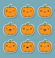 halloween kawaii cute pumpkin icons isolated on vector image vector image