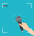 hand with microphone vector image