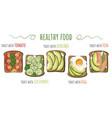 healthy food toasts with avocado vector image vector image