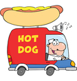 Hot dog truck cartoon vector image vector image