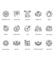 indian culture line icons set editable vector image vector image