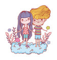 little kids couple in the cloud characters vector image
