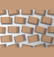 many cardboard brown boxes top view on white back vector image