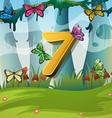 Number seven with 7 butterflies in garden vector image vector image